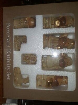 8 Piece Porcelain Nativity Set. NIB