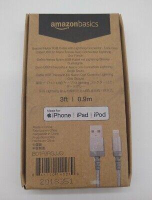 AmazonBasics Nylon Braided USB A to Lightning Compatible Cable Dark Grey 3ft
