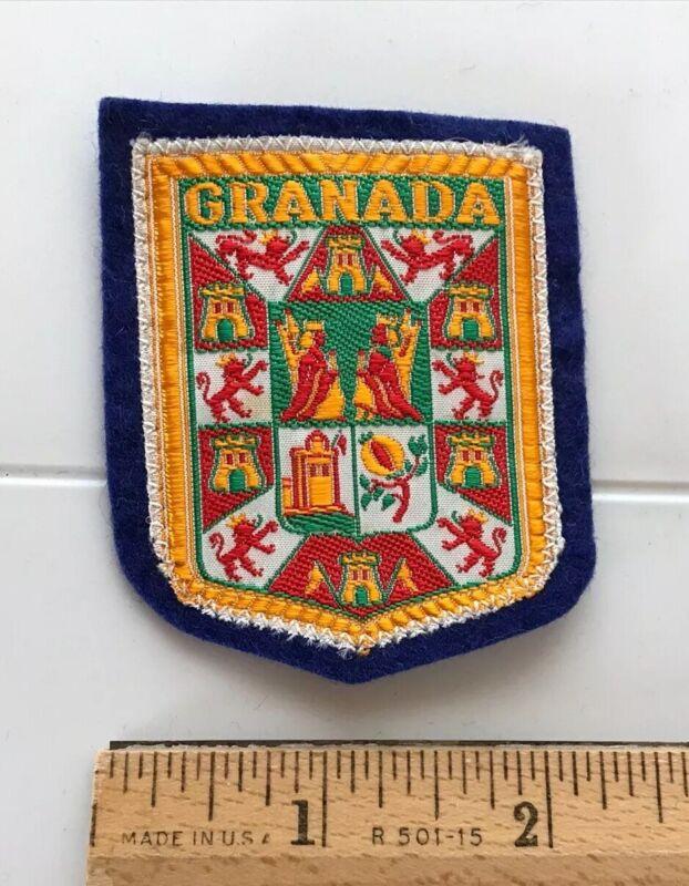 Granada Spain Espana Castle Lion Shield Crest Spanish Souvenir Woven Felt Patch