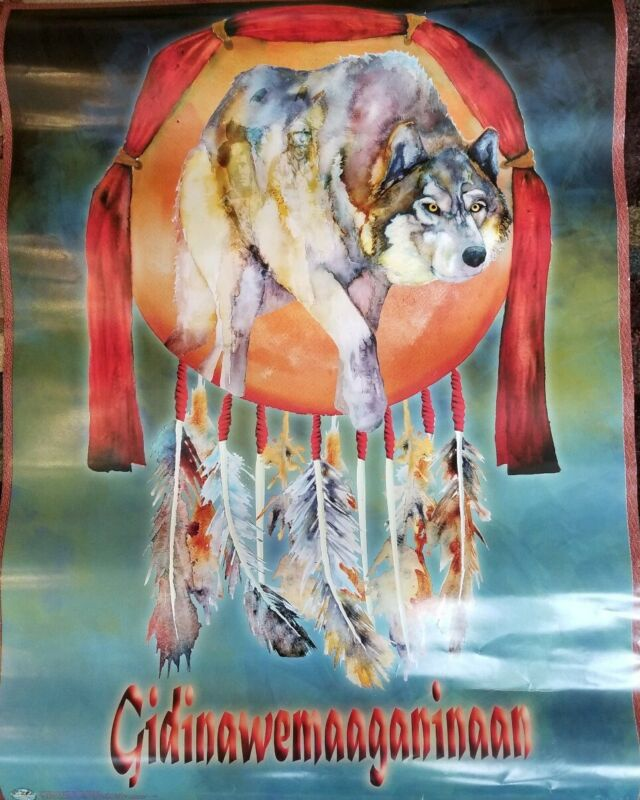GREAT LAKES INDIAN FISH AND WILDLIFE COMMISSION POSTER NATIVE AMERICAN ART 23X18