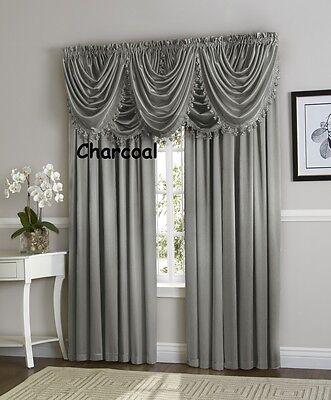 - Hyatt WINDOW TREATMENT, Royal Velvet set 4 Panel & 5 valance ex wide charcoal