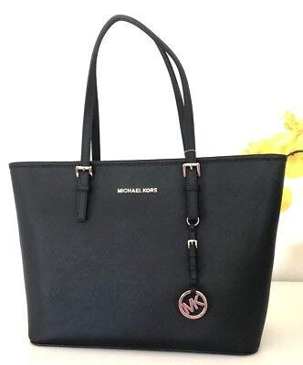NWT Michael Kors Bag Jet Set Travel Top Zip Black Leather Tote Handbag $278