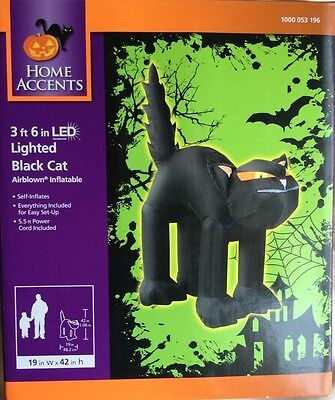 Nib3.6 Feet Led 'lighted Black Cat' Halloween Inflatable Blow Up/home Accents