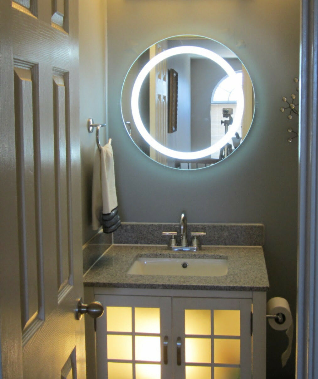 lighted vanity mirrors make up wall mounted 24 round mam1d24 ebay. Black Bedroom Furniture Sets. Home Design Ideas