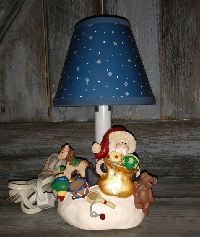 """Rare Unique Christmas Santa Lamp rare 9 1/2"""" tall Works hard to find vintage"""