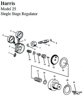 Rebuild Kit W Diaphragm - Harris Model 25 29 Regulator - Rebuild Ah25rkd