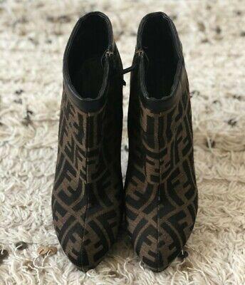 Vintage 90s FENDI ZUCCA monogram Brown Canvas Leather Short Ankle Boots size 39