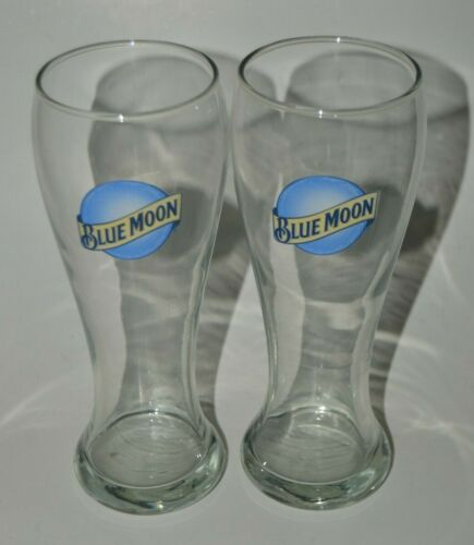 """Minty Large BLUE MOON 9"""" Tall Beer Bar Glass Lot of 2"""
