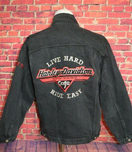Rare Vintage Harley Davidson New York Cafe Black Jean Jacket Large L Denim