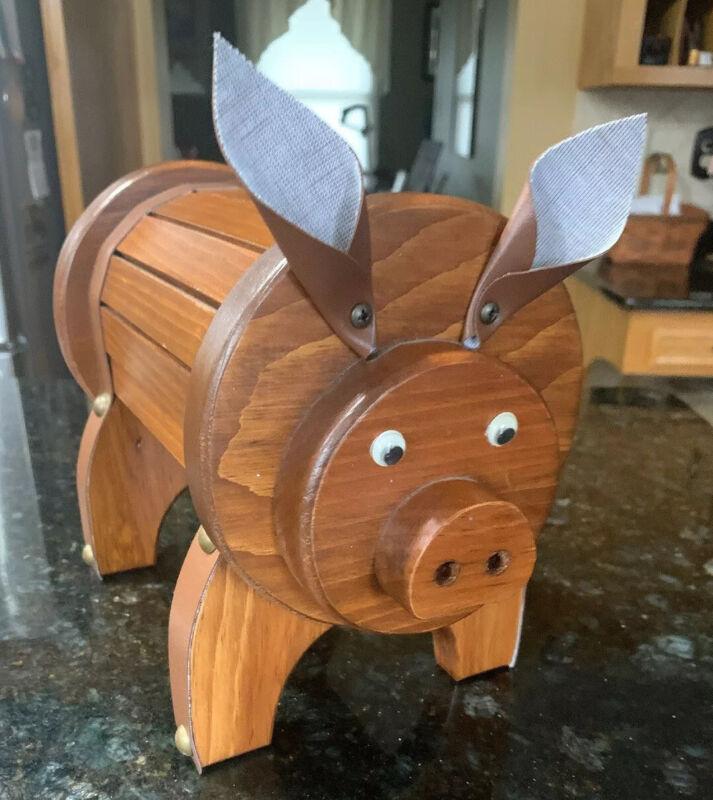 Unique Well Made Handmade Wood Pig Coin Piggy Money Bank