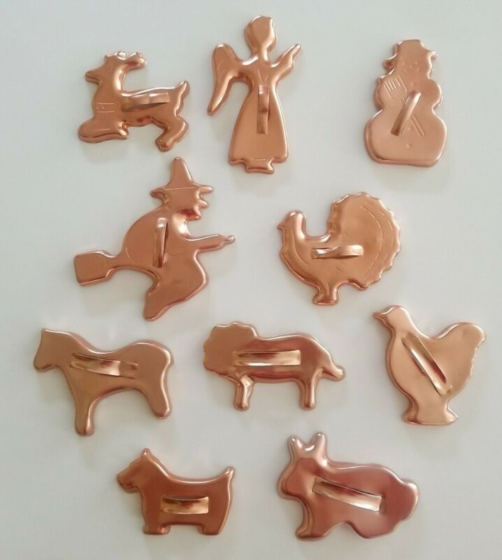 Lot of 10 Vintage Copper Color Aluminum Cookie Cutters Holidays Animals Witch