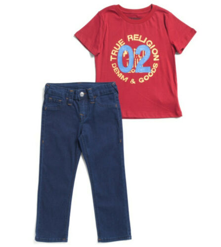 TRUE RELIGION Little Boys Tee And Denim Set Red Size 5 or 6 Brand New