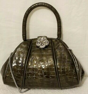 BRIGHTON Patent Evening Bag Crystal Flower Gray Croco Embossed 3 Ways to Carry (Croco Chain Patent Leather)