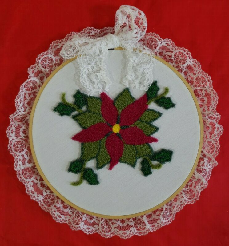 """Vintage Completed Punch Needle Poinsettia Framed In 7"""" Hoop"""