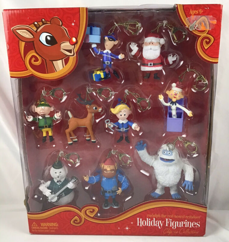 Rudolph The Red Nosed Reindeer Holiday Clip On Ornament Set Of 9 NEW