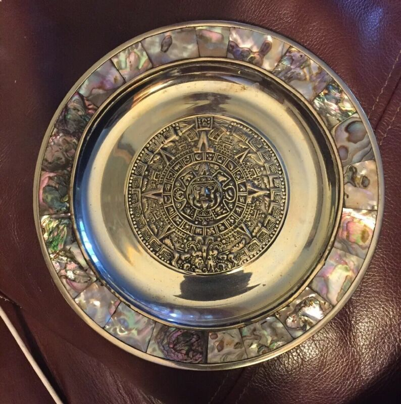 Mexico Alpaca Silver Aztec Mother Pearl Abalone Shell Plate Plaque 1950