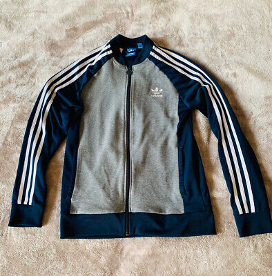 Vintage Adidas Tracksuit Top Blue Grey Retro 90's Street Style UK Size Small