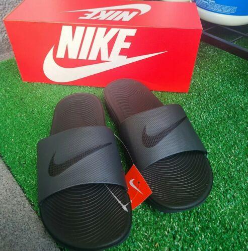NIB MEN Nike Air Kawa Slides Sandals Logo Swoosh BLACK OUT S