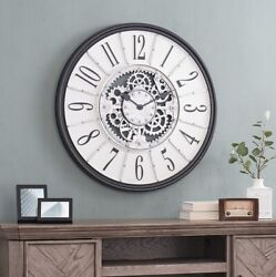 Oversized Gears Wall Clock Galvanized Look Large Display Industrial Accent Decor