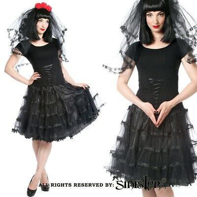 Sinister Gothic Plus Size Black Layered Tulle Satin Bows Petticoat Style Skirt (Plus Size Black Tulle Skirt)
