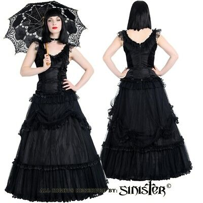 Sinister Gothic Plus Size Black Tulle Mesh Satin Roses Long Ballgown Skirt M-4X](Plus Size Tulle Skirt)