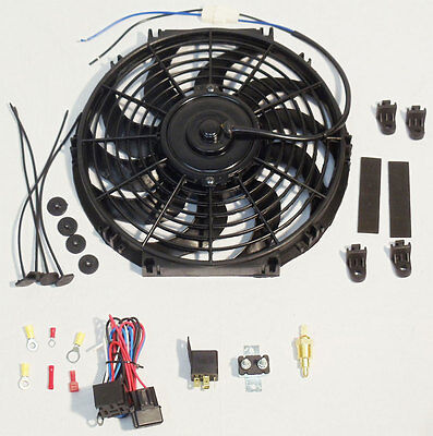 "16"" Electric Curved Blade Reversible Cooling Fan 12v 3000cfm & Thermostat Kit"