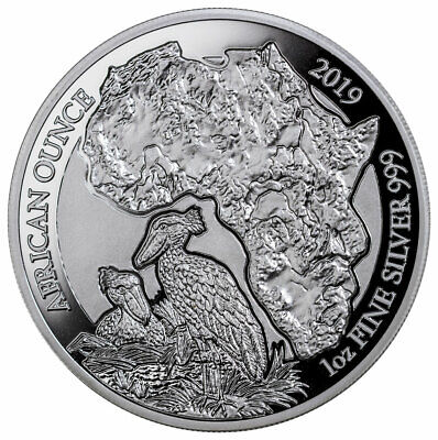 2019 Rwanda African Ounce Shoebill Bird 1 Oz 999 Silver Coin JB555