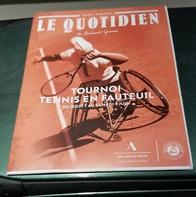 2018 FRENCH OPEN OFFICIAL PROGRAM - JUNE 7 - NADEL & WOMENS SEMI-FINALS - TOUGH