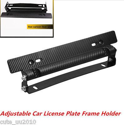 Universal Racing Carbon Fiber Style Adjustable Car License Plate Frame Holder