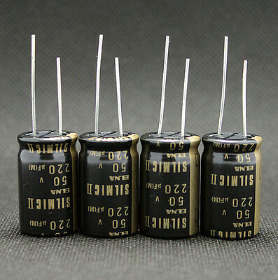 4pcs Japan Elna 50v 220uf Rfs Silmic Ii Series Hifi Audio Electrolytic Capacitor