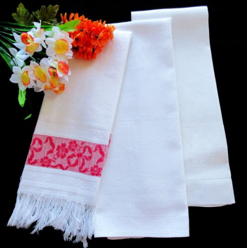 Set of Three Antique Victorian White Linen Huck Towels / Runners RED and WHITE