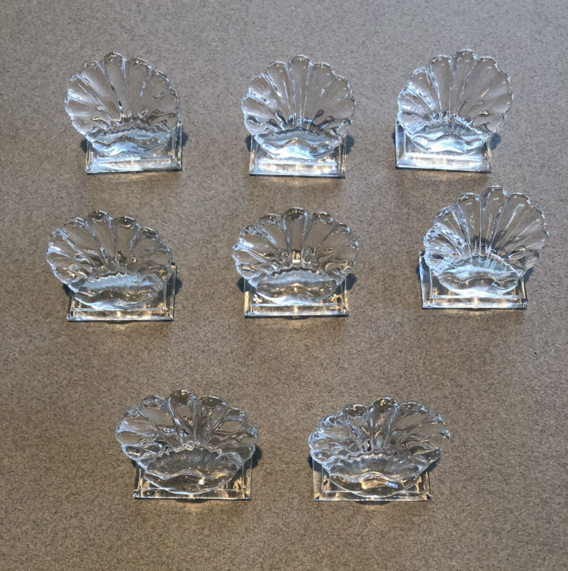 Baccarat Crystal Boubous Shell PlaceCard Holders. Set of 8