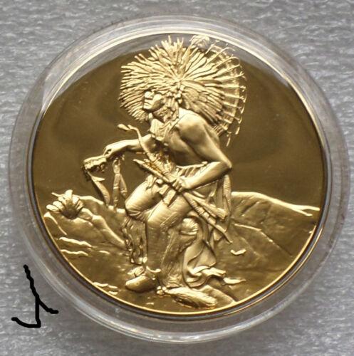 24K Gold Bronze Medal Native American Dance Leader of The Hidatsa Dog