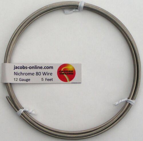 Nichrome 80 resistance wire, 12 AWG (gauge), 5 feet