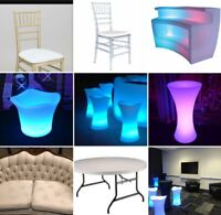 Chairs, tables and a large variety of wedding decor For Rent!