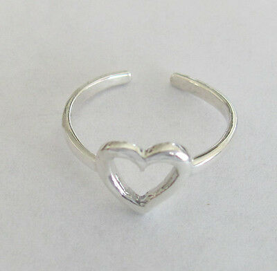 Sterling Silver Open Heart dainty size small-medium adjustable toe ring
