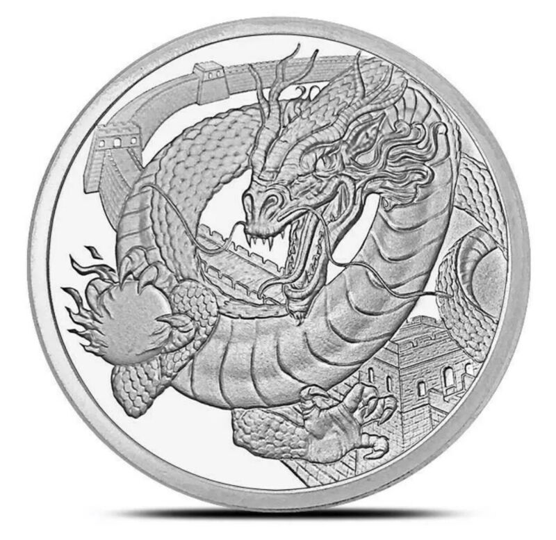 THE CHINESE DRAGON WORLD OF DRAGONS 1OZ SILVER ROUND BU IN CAPSULE * 3RD ISSUE *