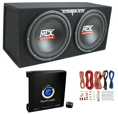 "MTX TNE212D 12"" 1200W Dual Loaded Car Subwoofers & Box & Planet 1500W Amp & Kit"