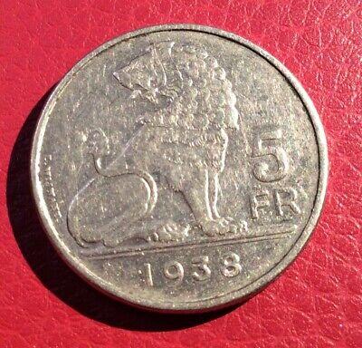 Belgique - Léopold III - Rare et Très Joli 5 Francs 1938 VL Couronne - posA