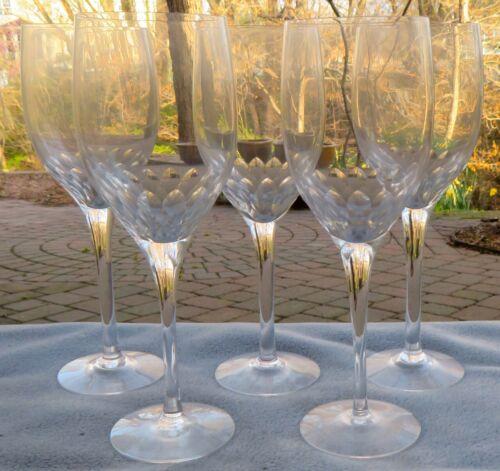 Set of FIVE Orrefors Crystal Prelude Claret Water Goblets