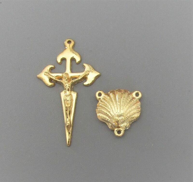 Rosary CENTER & CRUCIFIX Saint St JAMES Cross Camino de Santiago Shell L106 GOLD