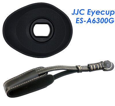 JJC  Silicagel Oval Eyecup+Genuine Leather Wrist Strap for Sony A6300 A6000