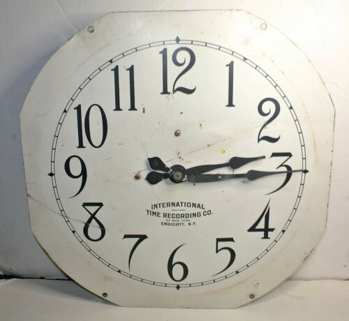 IBM INTERNATIONAL TIME RECORDING #10-42 CLOCK FACE AND ORIGINAL MOVEMENT