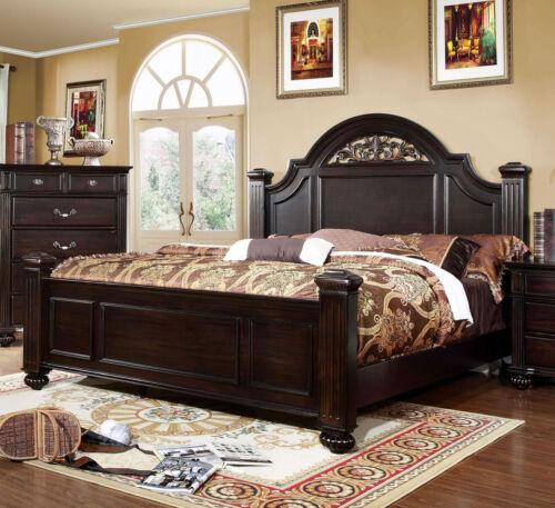 Dark Walnut Bedroom Cal King Size Bed Unique Design Headboard Footboard Posts
