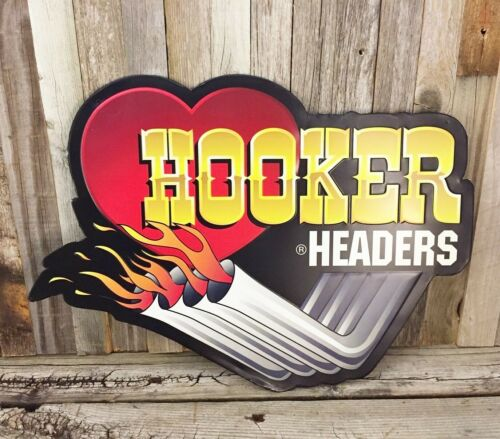 "Hooker Headers Holley 18"" Metal Tin Sign Auto Vintage Style Garage Man Cave New"