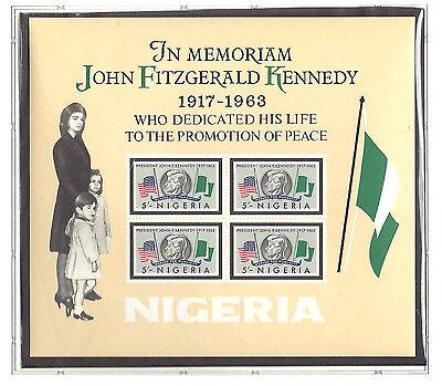 NIGERIA, KENNEDY,  SOUVENIR SHEET  IMPERF , MNH