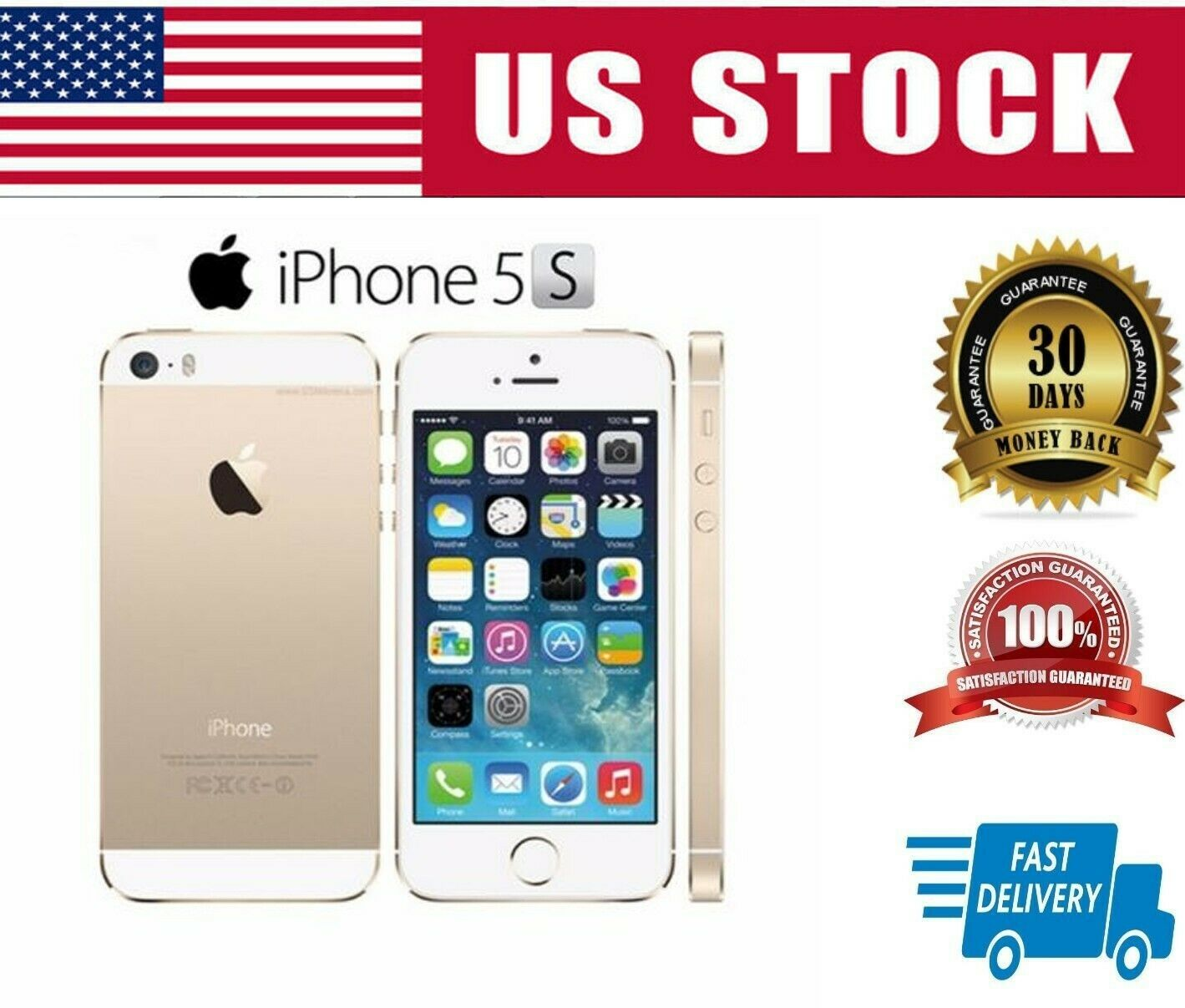 Apple iPhone 5S 64GB - Gold Unlocked Smartphone AT&T T-Mobile Sealed in Box
