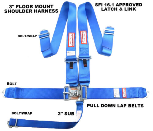 """RACING HARNESS 5 POINT SFI 16.1 RACING LATCH & LINK 3"""" FLOOR MOUNT BOLT IN BLUE"""