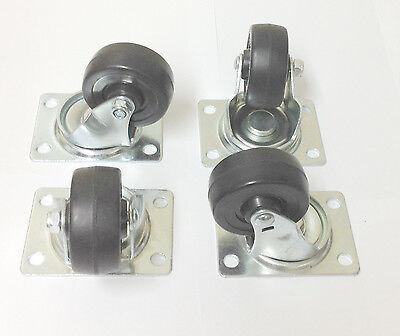 4 Heavy Duty Rubber 2.5 Swivel Plate Caster Wheels Base Wheel Bearings