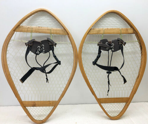 """Antique Vintage 16"""" X 25"""" Bear Paw Nylon Webbing Snowshoes Usable or Decor F/S"""